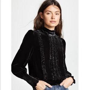 Frame denim black velvet high neck blouse S/P